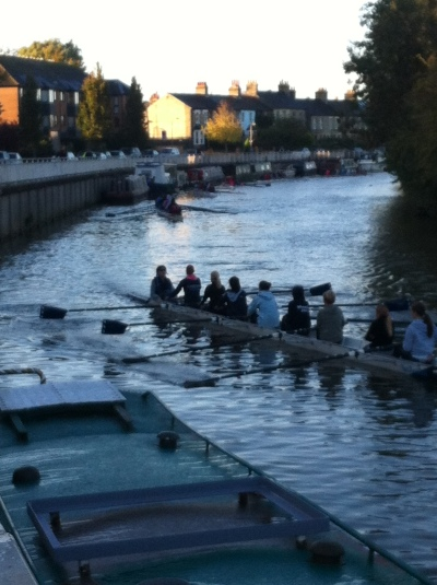 Here's a proper Cambridge-in-autumn shot: newby rowers, all lined up on the Cam, waiting for instructions to GO!