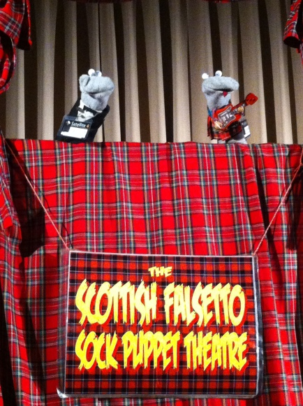All topped off by seeing the Scottish Falsetto Sock Puppet Theatre LIVE! This was,  seriously, one of the highlights of my time in Scotland. I've loved the SFSPT for years and so got in early to sit front & centre. My friends weren't familiar, but afterwards said how hilarious it was. Converted!